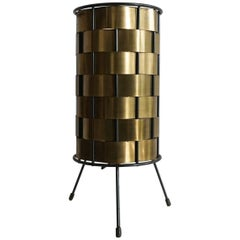 Midcentury Woven Brass Cylinder Lamp, 1950s