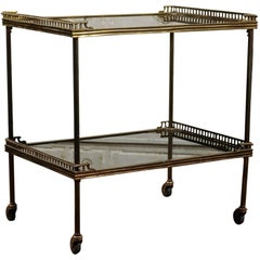 Continental Tiered Brass Trolley on Casters with Mirrored Shelves, circa 1900