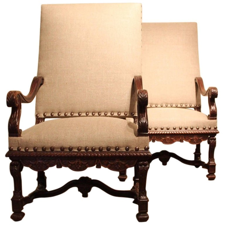 Pair of 19th Century French Carved Walnut Armchairs