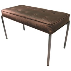 Mid-Century Modern Upholstered Bench with a Stainless Steel Frame