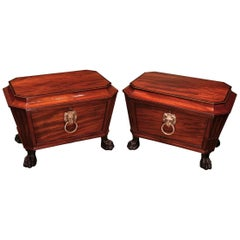Rare Pair of Regency Period Well-Figured Sarcophagus-Shaped Wine Coolers