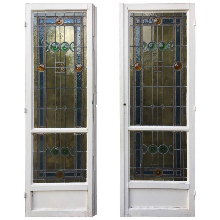 Unique French Art Deco Stained Glass Doors And Windows Set 1920s