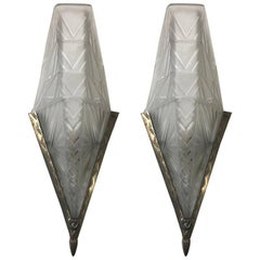 Pair of French Art Deco Geometric Wall Sconces by E.J.G.