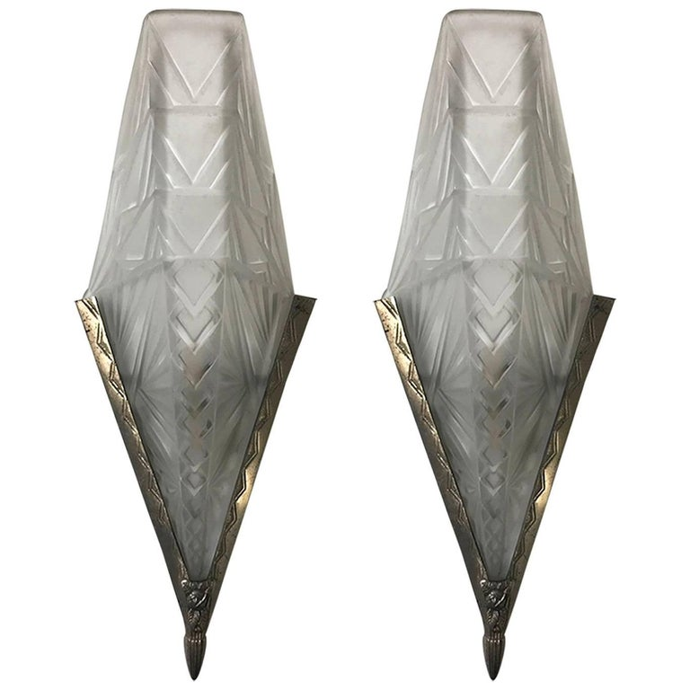 Pair of French Art Deco Geometric Wall Sconces by E.J.G. For Sale