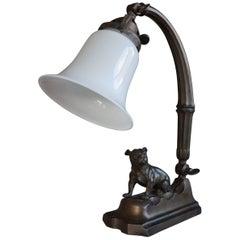 Adjustable Early 20th Century Bronzed Metal Bulldog Sculpture Desk Lamp