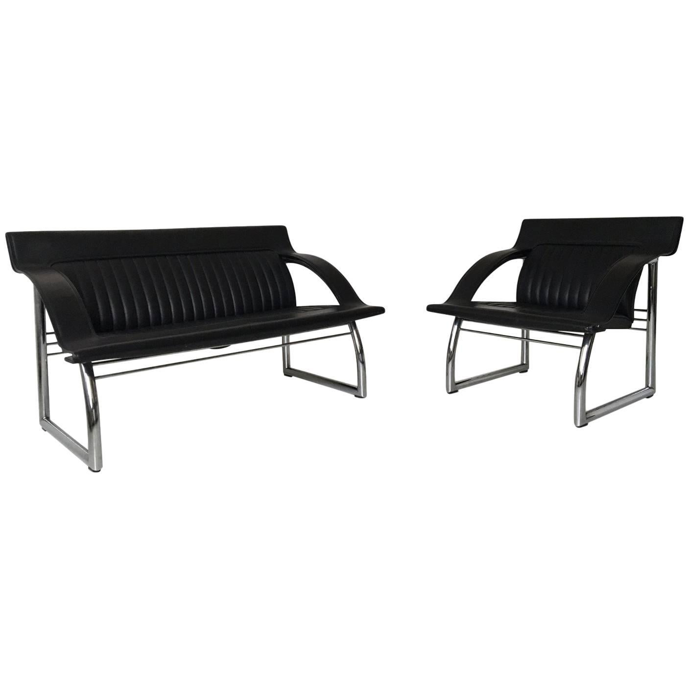 De Sede DS-127, Rare Black Leather Sofa and Lounge Chair by Gerd Lange, 1980s