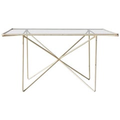 Vintage French Geometric White Metal and Glass Cocktail Table