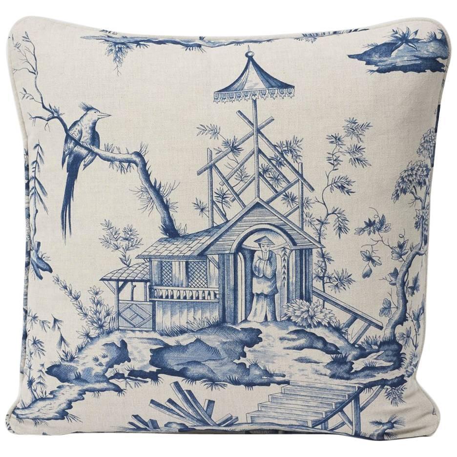 "Schumacher Shengyou Toile Indigo Blue Two-Sided 18"" Linen Cotton Pillow"