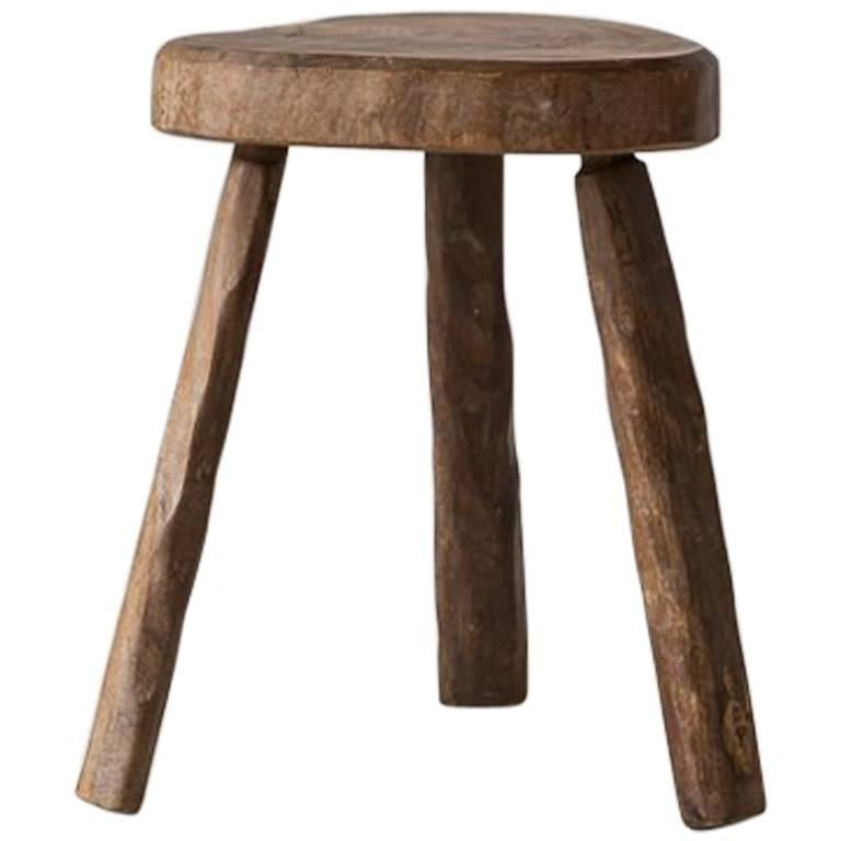 French Rustic Heart Shaped Tripod Wooden Stool At 1stdibs