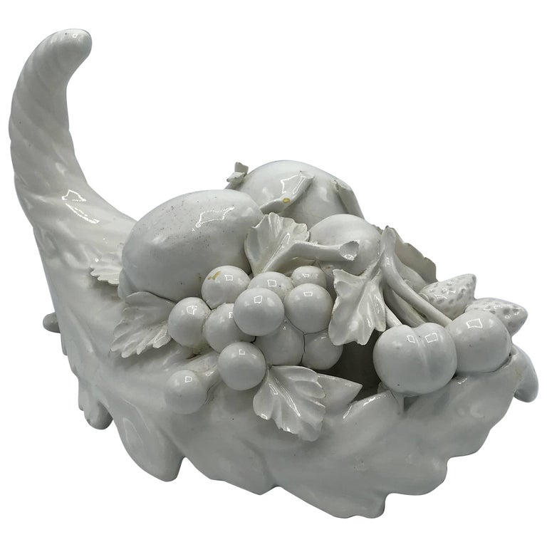 1960s, Italian Ceramic Fruit Cornucopia Centerpiece Sculpture For Sale