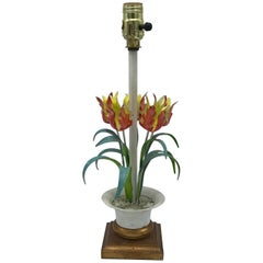 1970s Italian Tole Tulip Lamp on Florentine Base
