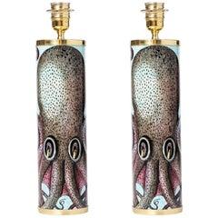 "Barnaba Fornasetti pair of cylindrical lamp bases ""Polipo"", Italy 2017"