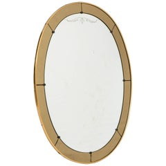 Cristal Arte oval wall mirror with champagne glass border, Italy, circa 1960