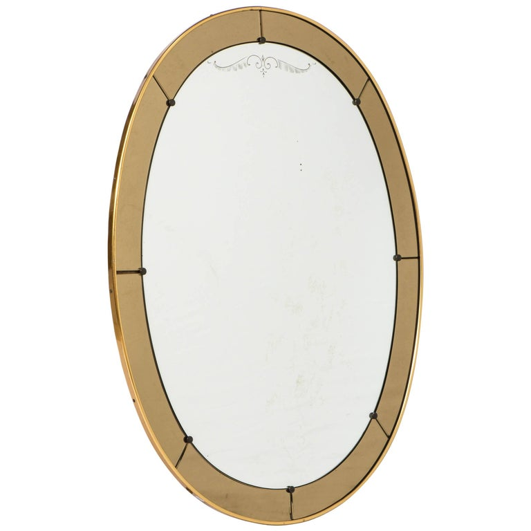 Cristal Arte oval wall mirror with champagne glass border, Italy, circa 1960 For Sale