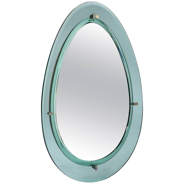 Cristal Art oval wall mirror with double glass border, Italy circa 1960
