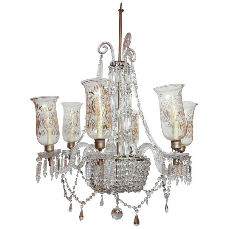Late Regency Crystal Chandelier For Sale
