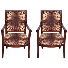 Pair of French Directoire Mahogany Fauteuil's