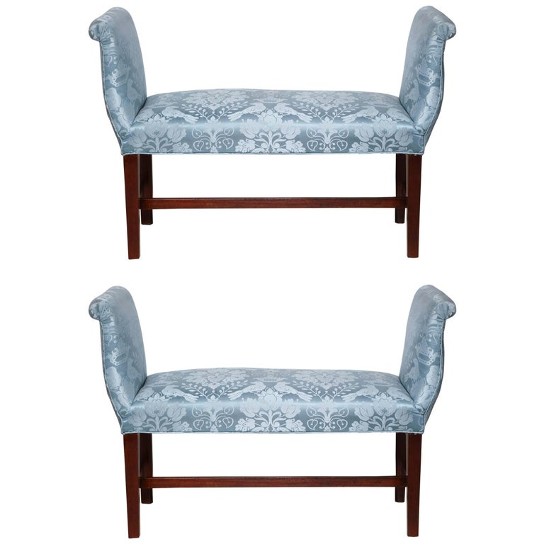 Pair of George III Mahogany Window Benches For Sale