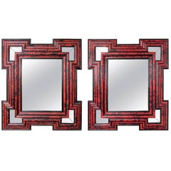 Large Scale Pair of Exceptional Dutch Baroque-Style Red Tortoise Mirrors