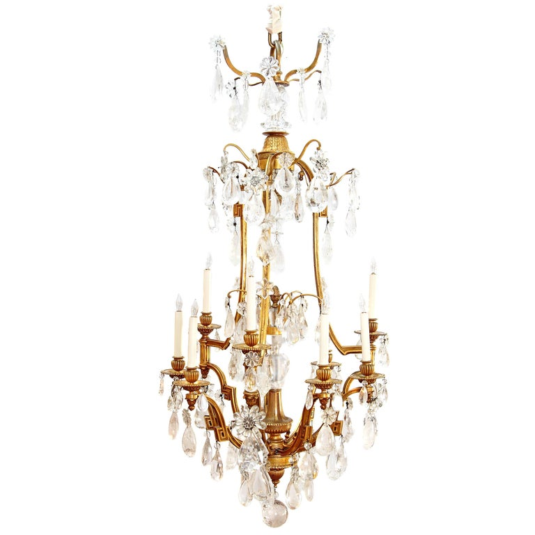 Louis XV Style Chandelier with Rock Crystals from Nesle Inc. New York For Sale