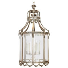 Monumental Nickel-Plated Bronze Art Deco Lantern