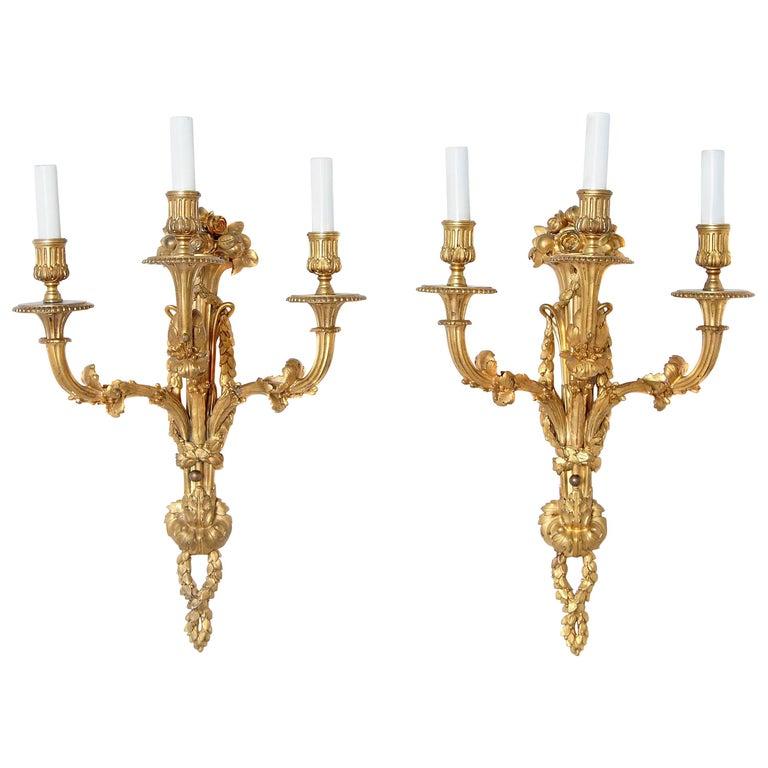 Pair of Louis XVI Style Gilt Bronze Sconces