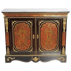 French Louis XVI Style Boulle Work Cabinet with Red Tortoise