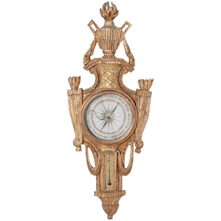Late 18th Century French Louis XVI Giltwood Barometer and Thermometer