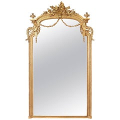 Elaborate Louis XVI Style Gilt Mirror