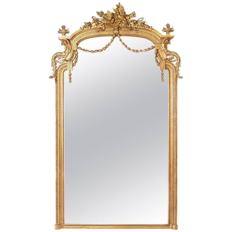 Elaborate Louis XVI Style Gilt Mirror