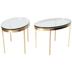 Oval Brass and Glass Tables by Nicos Zographos