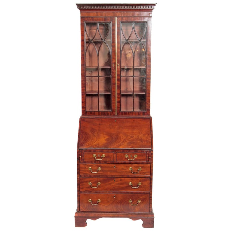 Period George III Secretary Bookcase of Mahogany For Sale