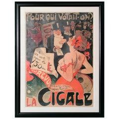 """Large Framed Poster """"La Cigale/Pour Qui Votait-on?"""" by Jules Alexandre Grun"""