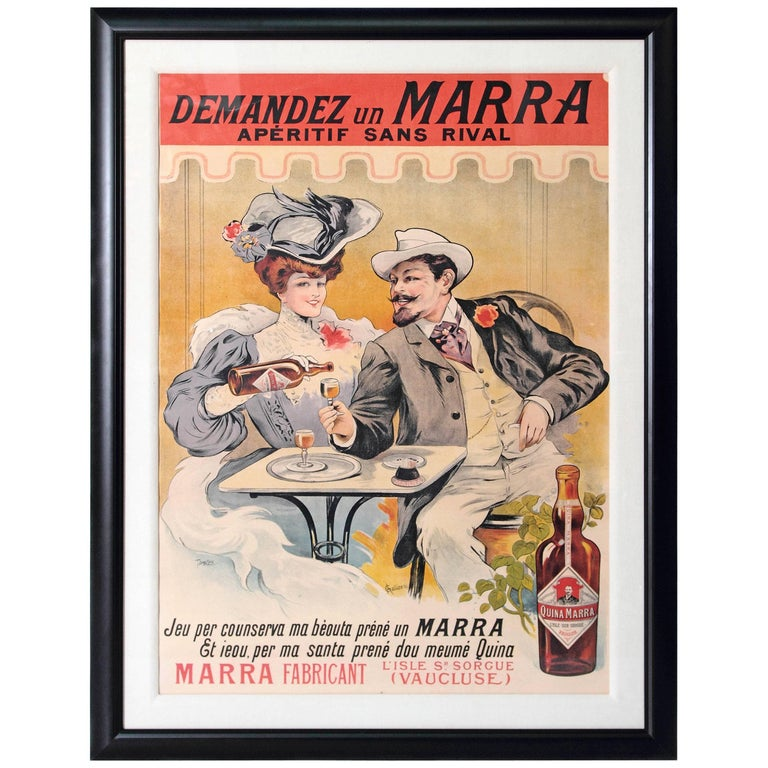 large framed 1930s french cordial medoc poster by henri