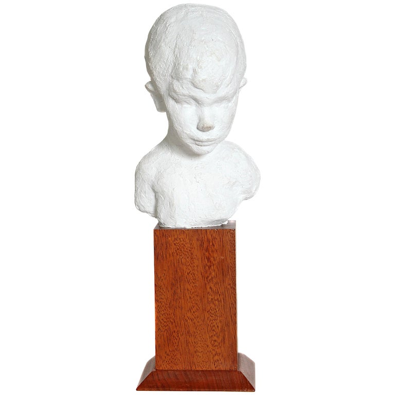 Bust of Young Boy on Mahogany Stand