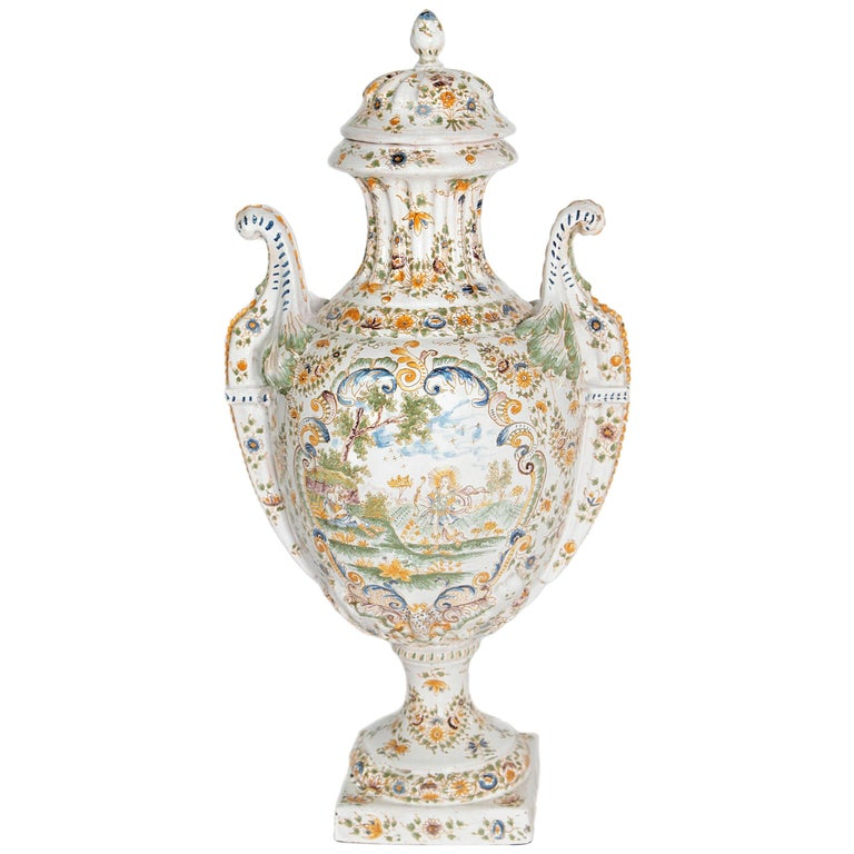 18th Century French Faience Lidded Urn For Sale