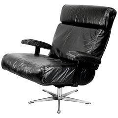 Italian Office Swivel Leather Easy Chair, 1960s