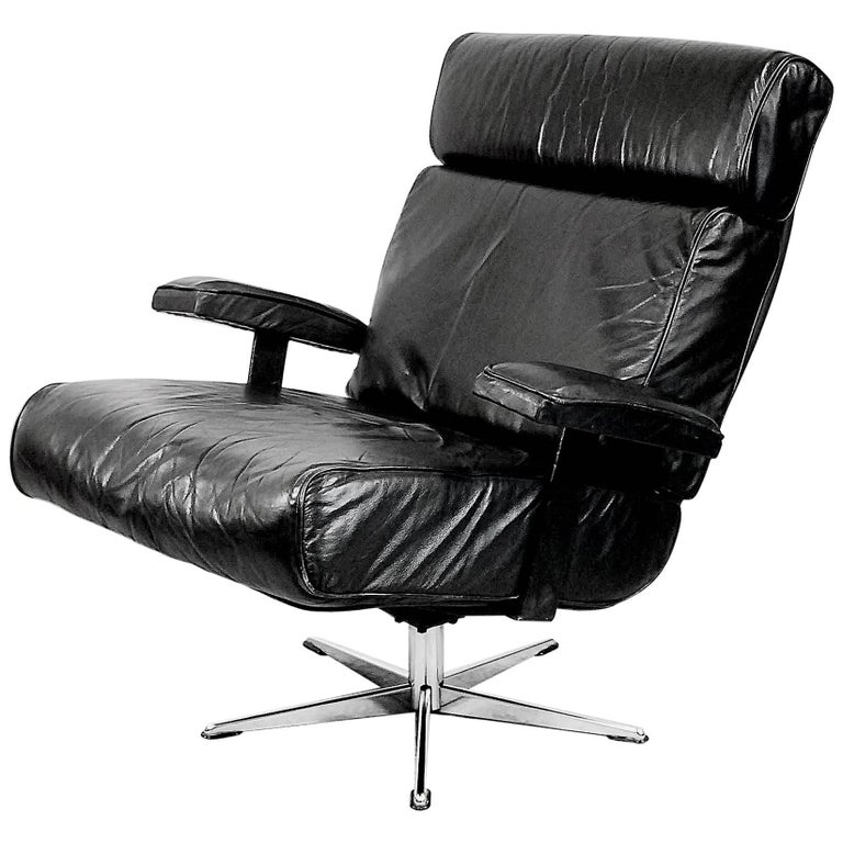 Italian Office Swivel Leather Easy Chair, 1960s