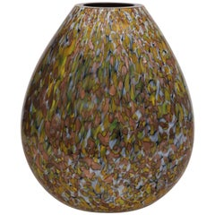 Signed Crepax Murano Glass Vase in Olive and Copper Metallic