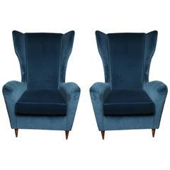 Vintage Italian Modern Wingback Chairs in Blue Velvet
