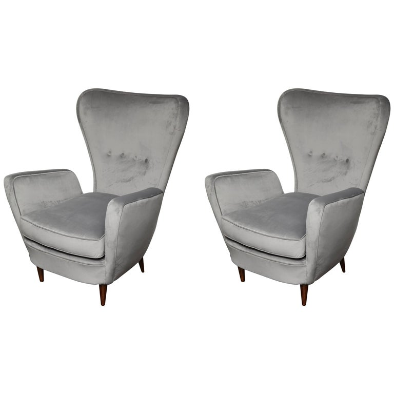 Pair of Vintage Italian High Back Chairs