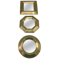 1970s Italian Brass Geometric Mirrors, Set of Three