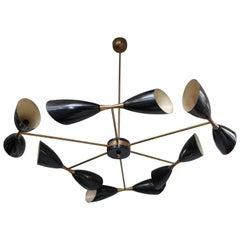 Black and Brass Vintage Stilnovo Chandelier