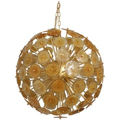 Golden Murano Mini Disc Sputnik Chandelier