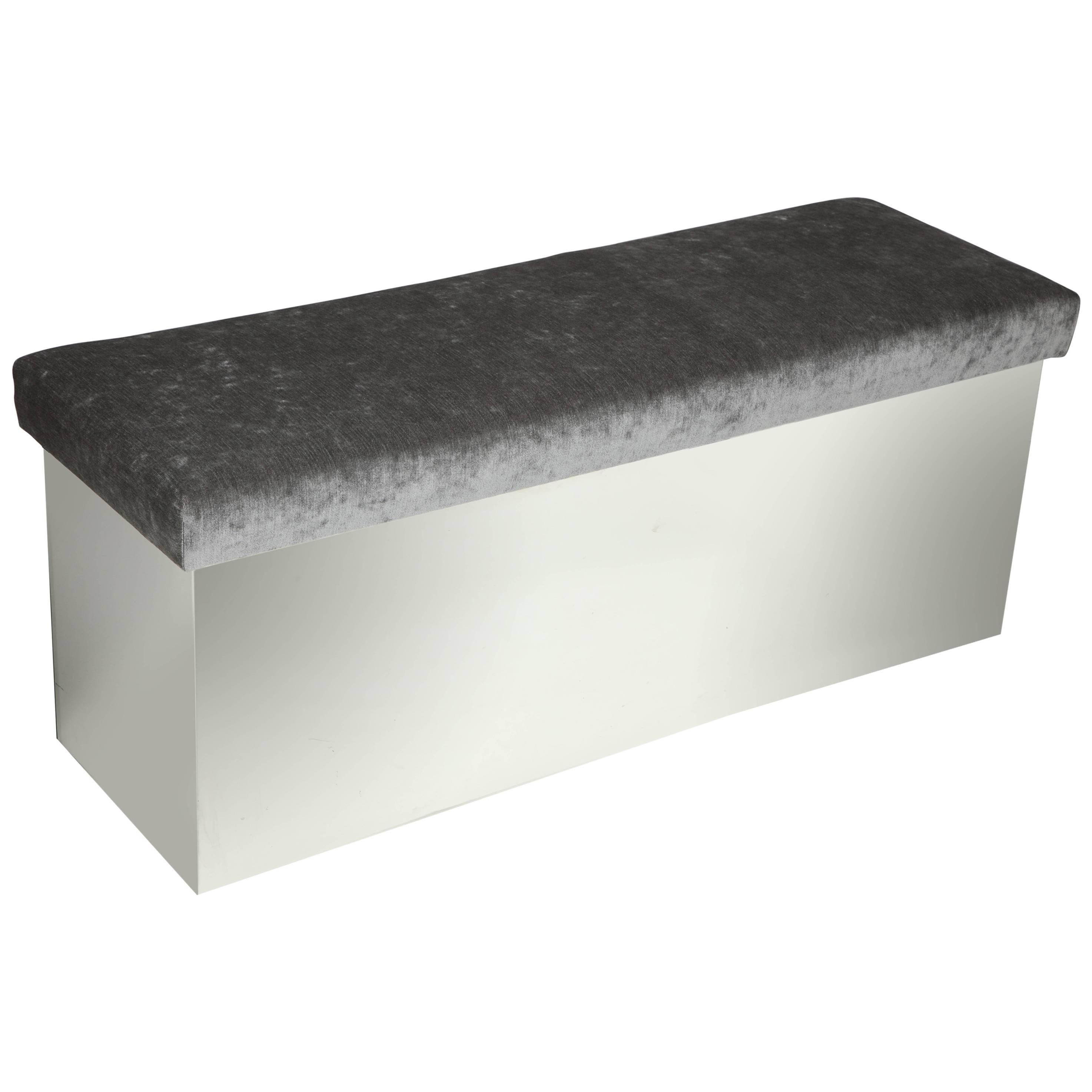 Wrapped Stainless Bench Upholstered in Grey Velvet