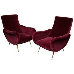 Pair of Vintage Italian Club Chairs Re-Upholstered in Burgundy Velvet