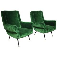 Pair of Vintage Italian Green Velvet Chairs