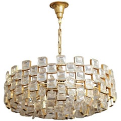 Vintage Palwa Square Glass and Brass Chandelier