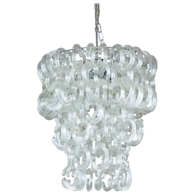 Murano Glass Clear C Link Chandelier