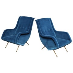 Pair of Parisi Vintage Italian Club Chairs Upholstered in Teal Blue Velvet